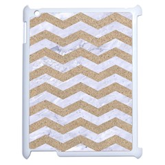 Chevron3 White Marble & Sand Apple Ipad 2 Case (white)