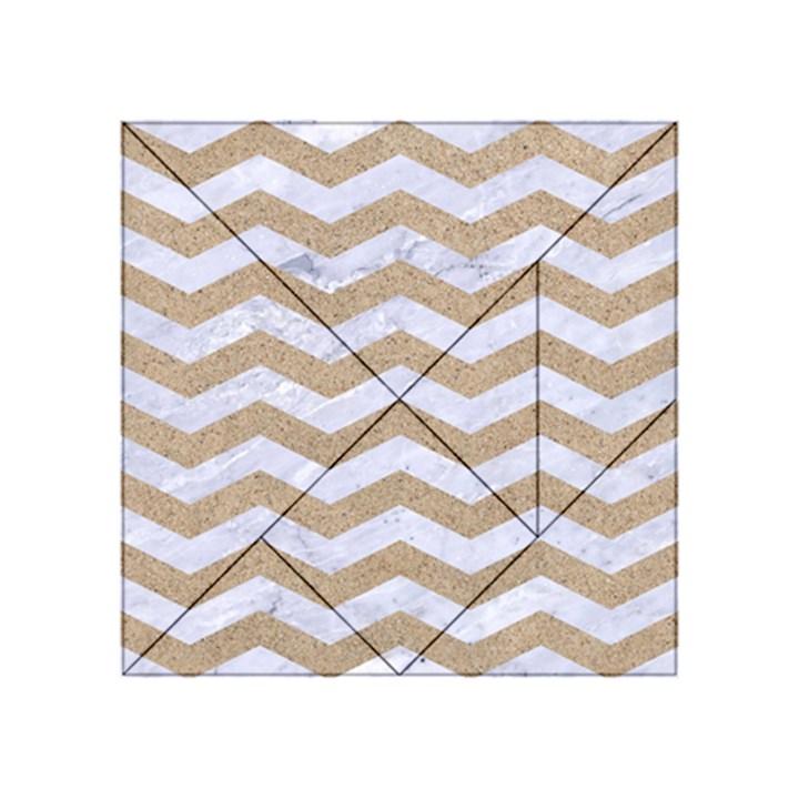 CHEVRON3 WHITE MARBLE & SAND Acrylic Tangram Puzzle (4  x 4 )