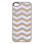 CHEVRON3 WHITE MARBLE & SAND Apple iPhone 5 Case (Silver) Front