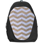 CHEVRON3 WHITE MARBLE & SAND Backpack Bag Front