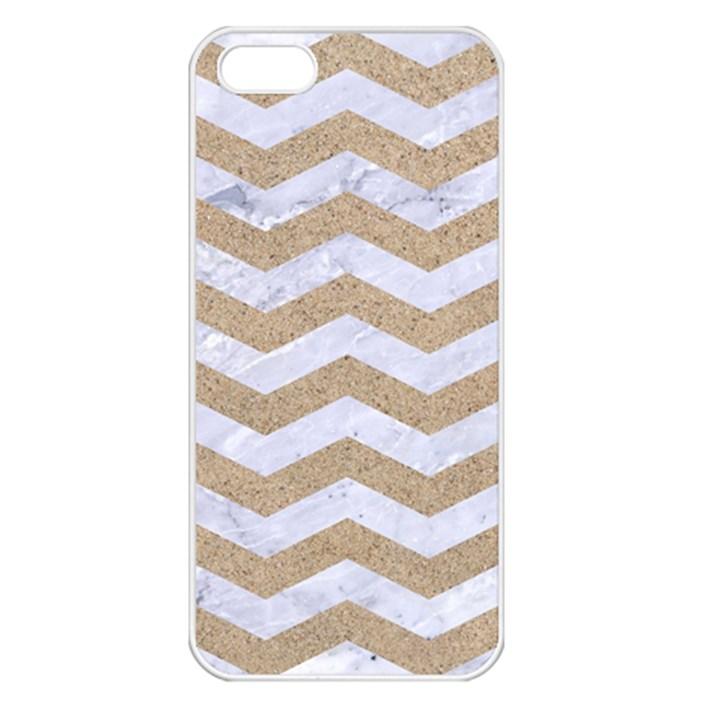 CHEVRON3 WHITE MARBLE & SAND Apple iPhone 5 Seamless Case (White)