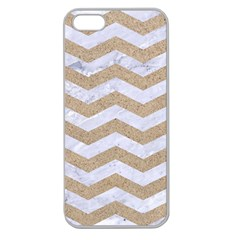 Chevron3 White Marble & Sand Apple Seamless Iphone 5 Case (clear)