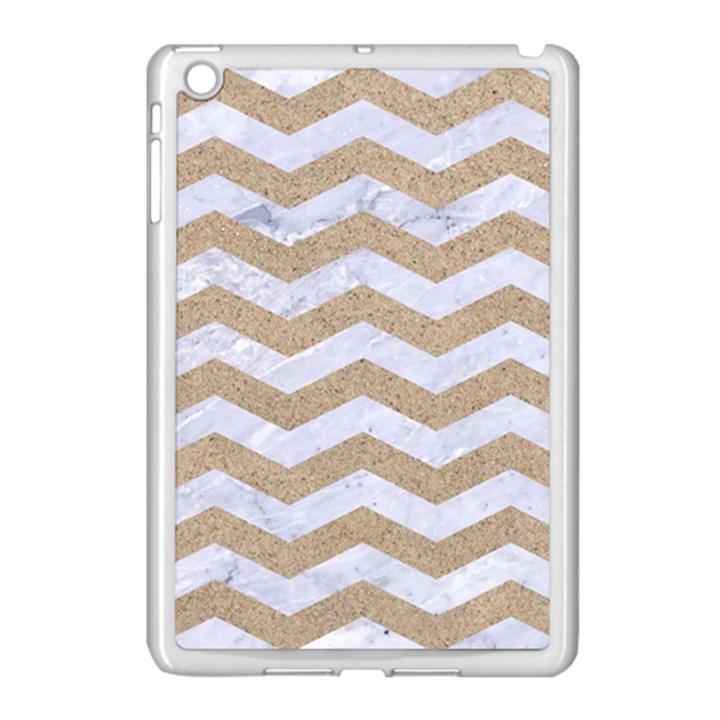 CHEVRON3 WHITE MARBLE & SAND Apple iPad Mini Case (White)