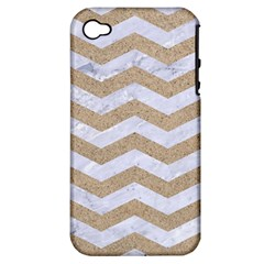 Chevron3 White Marble & Sand Apple Iphone 4/4s Hardshell Case (pc+silicone)