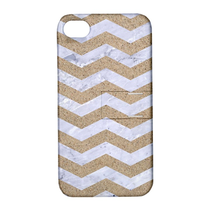 CHEVRON3 WHITE MARBLE & SAND Apple iPhone 4/4S Hardshell Case with Stand