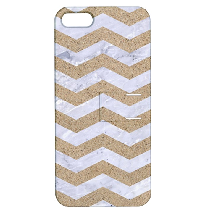 CHEVRON3 WHITE MARBLE & SAND Apple iPhone 5 Hardshell Case with Stand