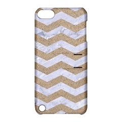Chevron3 White Marble & Sand Apple Ipod Touch 5 Hardshell Case With Stand