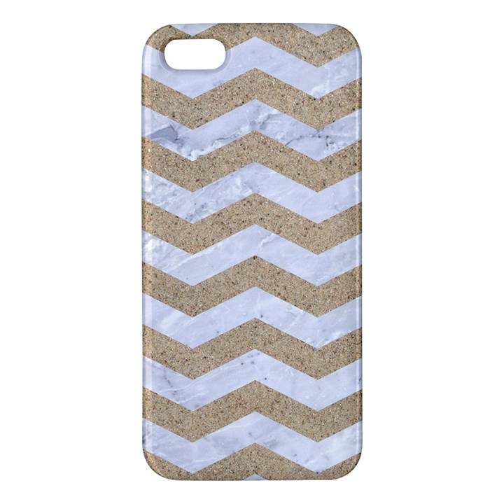 CHEVRON3 WHITE MARBLE & SAND Apple iPhone 5 Premium Hardshell Case