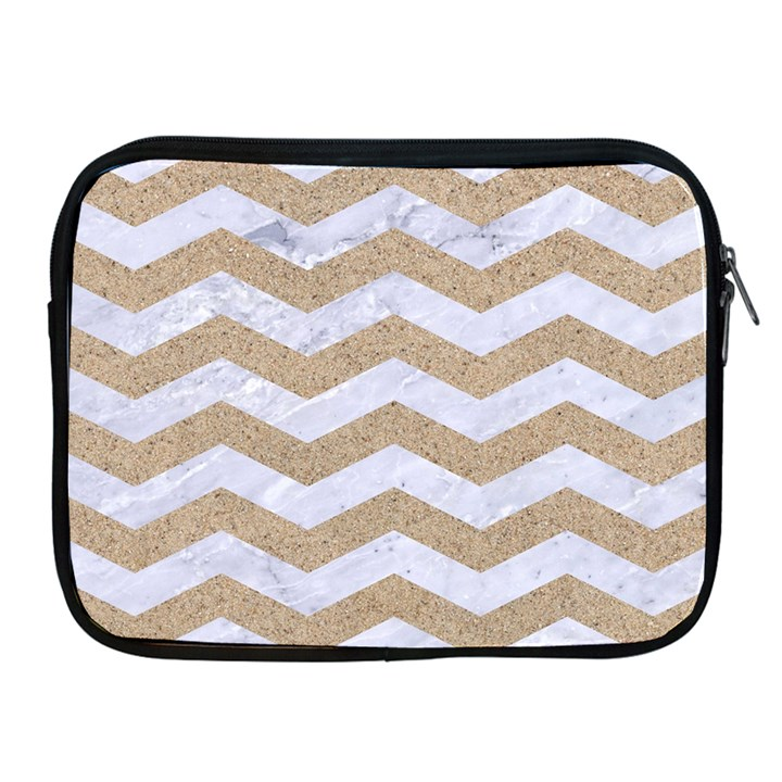 CHEVRON3 WHITE MARBLE & SAND Apple iPad 2/3/4 Zipper Cases