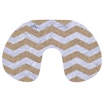 CHEVRON3 WHITE MARBLE & SAND Travel Neck Pillows Front