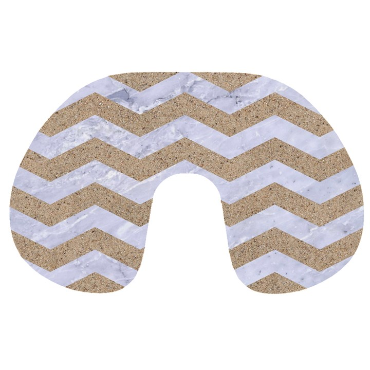 CHEVRON3 WHITE MARBLE & SAND Travel Neck Pillows