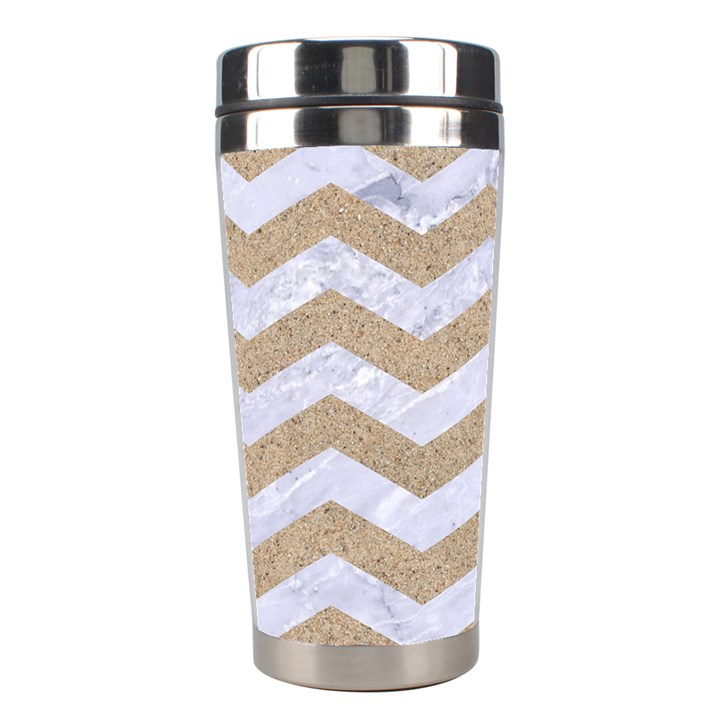CHEVRON3 WHITE MARBLE & SAND Stainless Steel Travel Tumblers