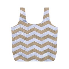Chevron3 White Marble & Sand Full Print Recycle Bags (m)
