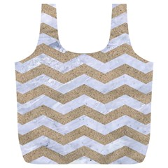 Chevron3 White Marble & Sand Full Print Recycle Bags (l)
