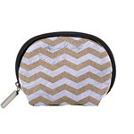 CHEVRON3 WHITE MARBLE & SAND Accessory Pouches (Small)  Front