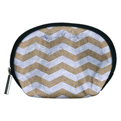 Chevron3 White Marble & Sand Accessory Pouches (medium)
