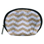 CHEVRON3 WHITE MARBLE & SAND Accessory Pouches (Medium)  Front