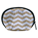 CHEVRON3 WHITE MARBLE & SAND Accessory Pouches (Medium)  Back