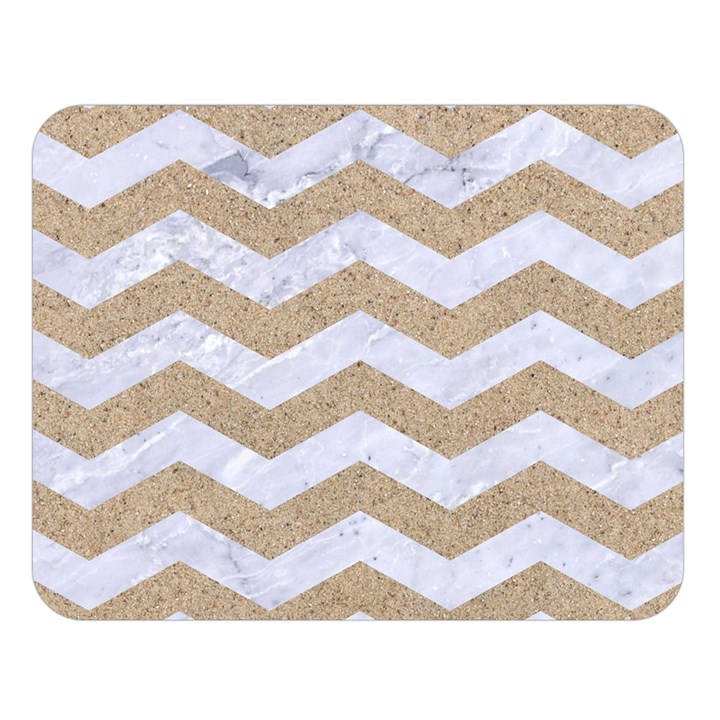 CHEVRON3 WHITE MARBLE & SAND Double Sided Flano Blanket (Large)