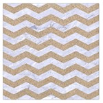 CHEVRON3 WHITE MARBLE & SAND Large Satin Scarf (Square) Front