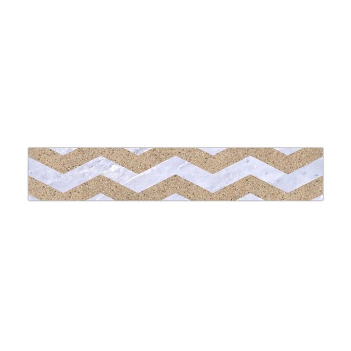 CHEVRON3 WHITE MARBLE & SAND Flano Scarf (Mini)