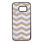 CHEVRON3 WHITE MARBLE & SAND Samsung Galaxy S7 Black Seamless Case Front