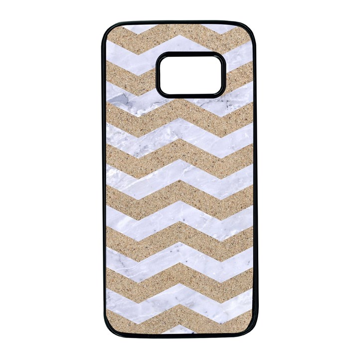 CHEVRON3 WHITE MARBLE & SAND Samsung Galaxy S7 Black Seamless Case