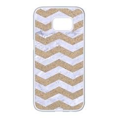 Chevron3 White Marble & Sand Samsung Galaxy S7 Edge White Seamless Case