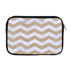 Chevron3 White Marble & Sand Apple Macbook Pro 17  Zipper Case