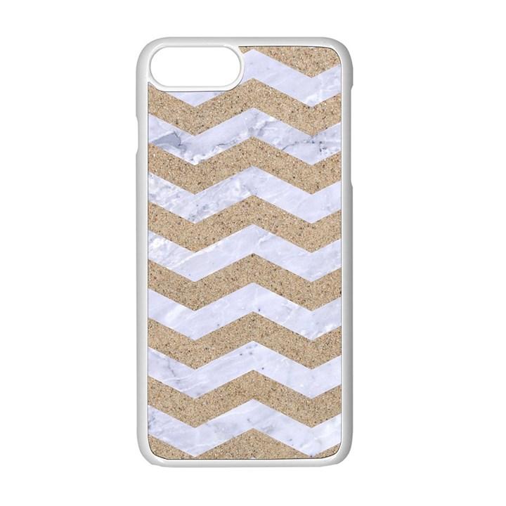 CHEVRON3 WHITE MARBLE & SAND Apple iPhone 8 Plus Seamless Case (White)