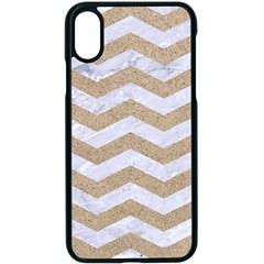 Chevron3 White Marble & Sand Apple Iphone X Seamless Case (black)