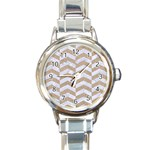 CHEVRON2 WHITE MARBLE & SAND Round Italian Charm Watch Front