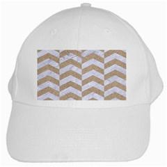 Chevron2 White Marble & Sand White Cap