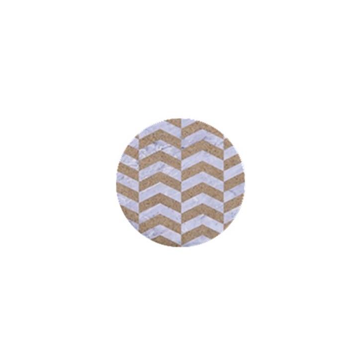 CHEVRON2 WHITE MARBLE & SAND 1  Mini Buttons