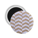 CHEVRON2 WHITE MARBLE & SAND 2.25  Magnets Front