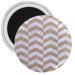 CHEVRON2 WHITE MARBLE & SAND 3  Magnets Front