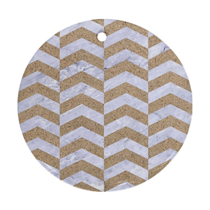 CHEVRON2 WHITE MARBLE & SAND Ornament (Round)