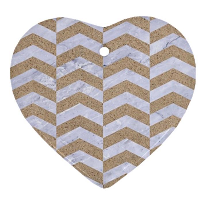 CHEVRON2 WHITE MARBLE & SAND Ornament (Heart)