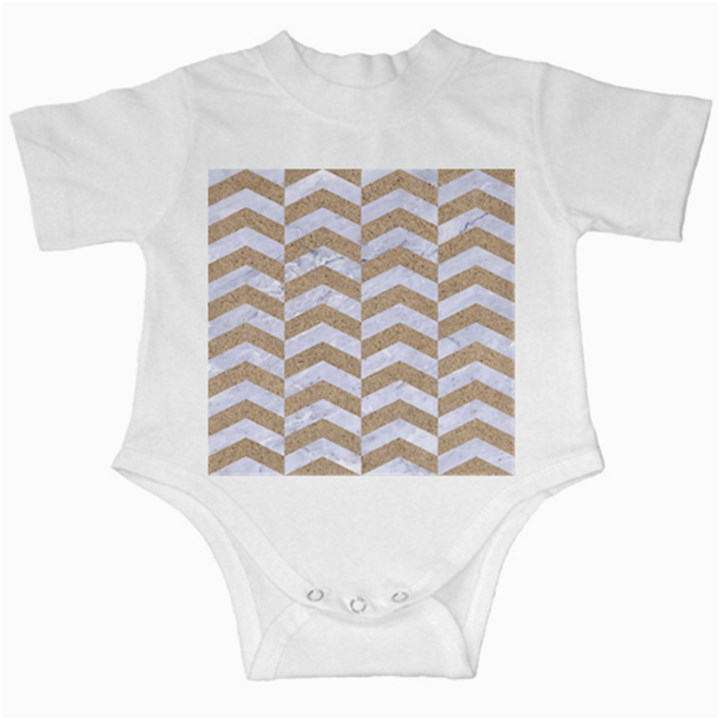 CHEVRON2 WHITE MARBLE & SAND Infant Creepers