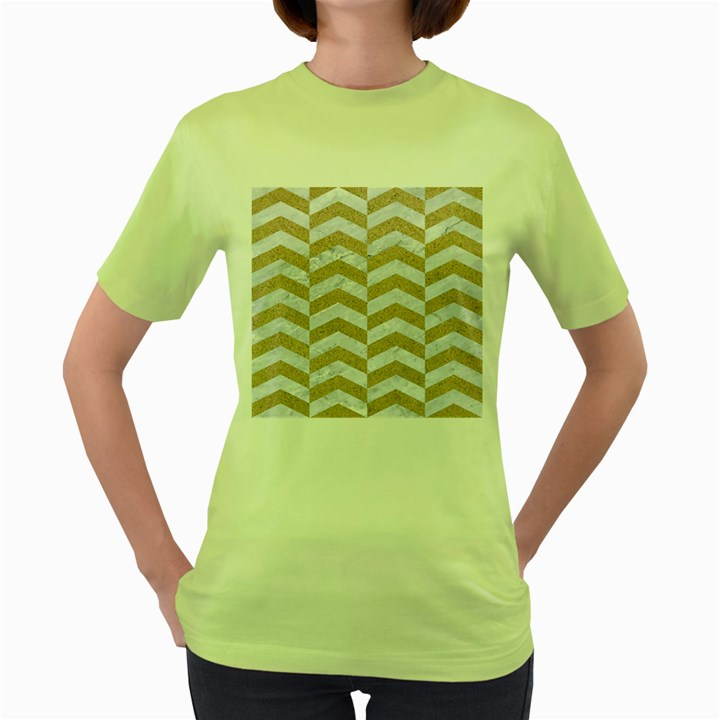 CHEVRON2 WHITE MARBLE & SAND Women s Green T-Shirt