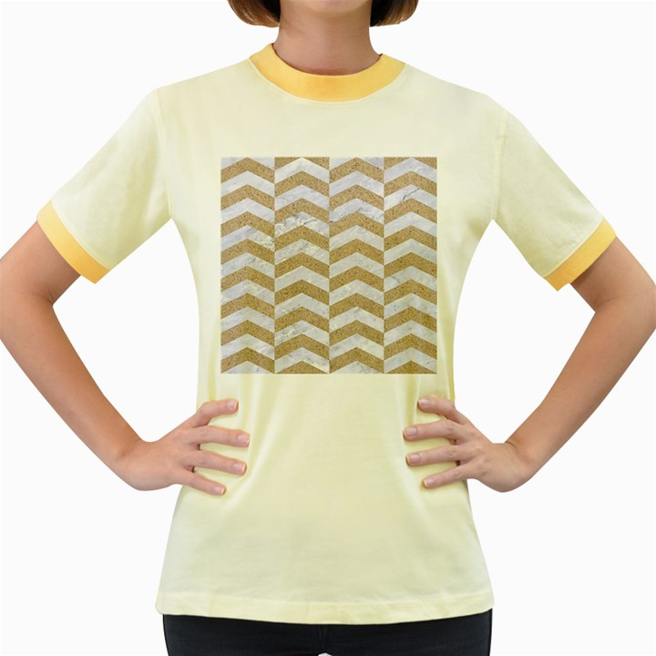 CHEVRON2 WHITE MARBLE & SAND Women s Fitted Ringer T-Shirts