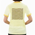 CHEVRON2 WHITE MARBLE & SAND Women s Fitted Ringer T-Shirts Back