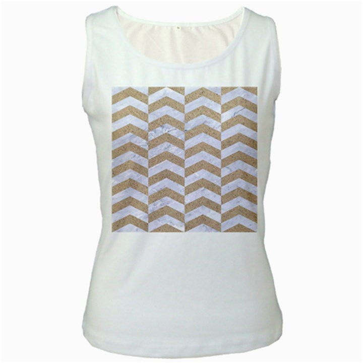 CHEVRON2 WHITE MARBLE & SAND Women s White Tank Top