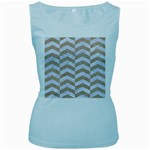 CHEVRON2 WHITE MARBLE & SAND Women s Baby Blue Tank Top Front