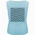 CHEVRON2 WHITE MARBLE & SAND Women s Baby Blue Tank Top Back
