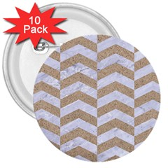 Chevron2 White Marble & Sand 3  Buttons (10 Pack)
