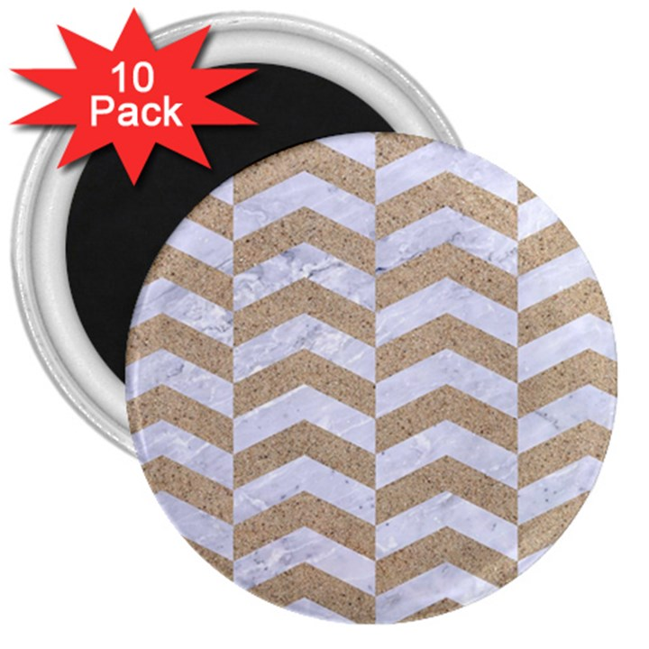 CHEVRON2 WHITE MARBLE & SAND 3  Magnets (10 pack)