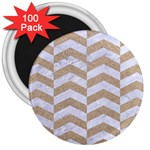 CHEVRON2 WHITE MARBLE & SAND 3  Magnets (100 pack) Front