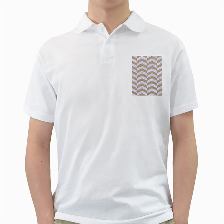 CHEVRON2 WHITE MARBLE & SAND Golf Shirts