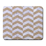 CHEVRON2 WHITE MARBLE & SAND Large Mousepads Front